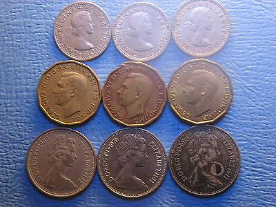 Great Britain  3 , 5 &  Pence  1941 - 1979 / 9 Coins /