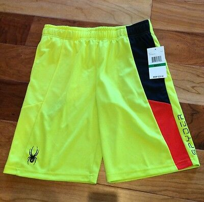 NWT Spyder Boy's Black/Yellow/Red Athletic Shorts size Large