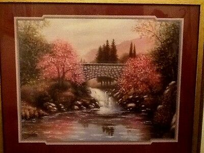 """LARGE HOME INTERIOR  """"THE OLD STONE BRIDGE"""" by SAMBATARO FRAMED PICTURE"""