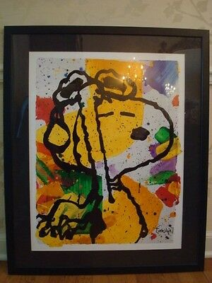 """TOM EVERHART PEANUTS SNOOPY LARGE GALLERY FRAMED PRINT 32""""W x 39""""H EXC COND"""