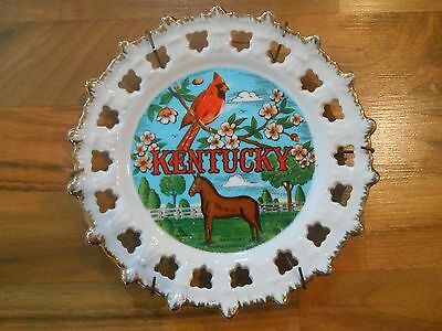 Old Vintage Souvenir Wall Hanging Plate Kentucky Horse Cardinal Scotty Korea