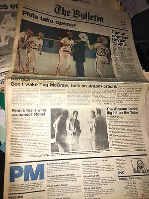 The Bulletin Oct 15, 1980 Philadelphia Phillies Front page and Sports page Rose