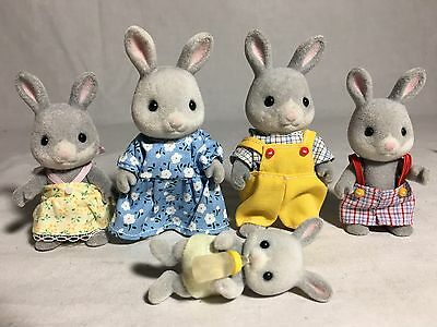 Calico critters/sylvanian families Bunny family Of 5 Rabbits