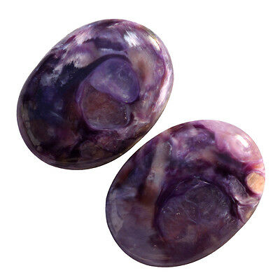 34.5Cts. 100% TWO NATURAL CABOCHON OVAL VIOLET CHAROITE LOOSE GEMSTONES