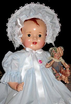 "HUGE 28""  1930's VINTAGE  HAPPY BABY  w/TODDLER LEGS  COMPOSITION & CLOTH DOLL"
