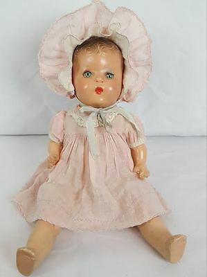 Antique Vtge Horsman Composition Mama Baby Doll 1930s LOVELY FACTORY ORIGINAL ~