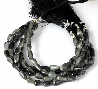 "5 Strands AAA Natural Black Cats Eye Tear Drop 5x8-6x12mm 7"" Long Smooth Beads"