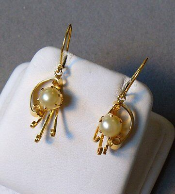 Unique Artist Inspired Original 14K Yellow Gold Natural White Pearl Earrings Old