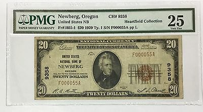 1929 $20 Newberg Oregon ~ PMG VERY FINE VF 25 ~ CH# 9358 ~ LOW SERIAL NUMBER 55