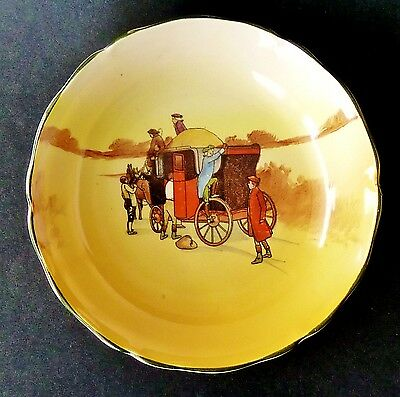 VIntage 1930s HAND PAINTED o/transfer ROYAL DOULTON COACHING SCENES bowl DISH