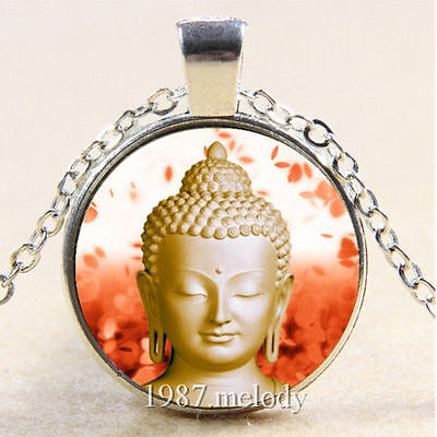 BUDDHA BUDDHIST MEDITATION IDOL SPIRTUAL LUCKY HAPPINESS statue Glass Necklace