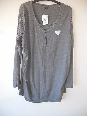 Ladies Patch Maternity Striped Henley Top for Discreet Nursing Size L & XL