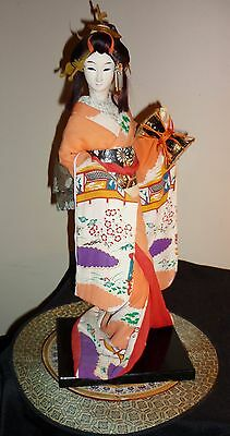 Beautiful LARGE Vintage Geisha Japan Doll with drum silk face RARE
