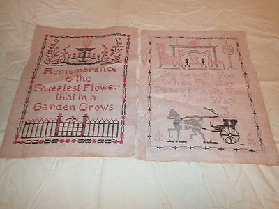 Lot of 2 Antique Folk Art Primitive Samplers