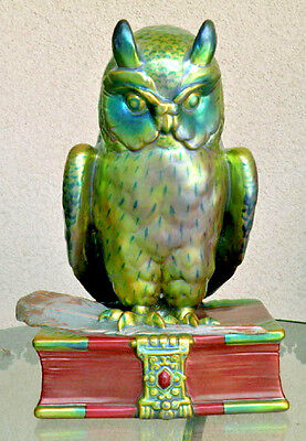 """MAJOR SALE Antique Museum Quality Multi-Colored Zsolnay Owl 11.5"""" tall PRISTINE"""