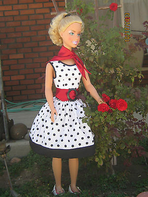 "REDUCED! OOAK 38"" My Size Barbie custom 60's style dress (NO DOLL)"
