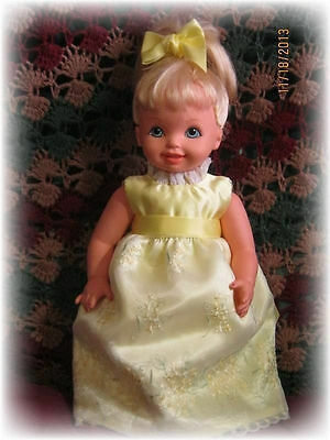 "REDUCED! OOAK MY SIZE BARBIE  LEMON YELLOW DRESS for 16"" kELLY DOLL"