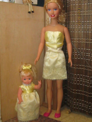 "Reduced!ooak My Size Barbie 38"" Lemon Yellow Dress With Hat"