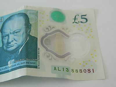 New Polymer £5 Five Pound Note Serial Number  Ali3 888081