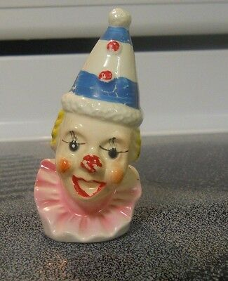 Vintage Clown Head Salt or Pepper Shaker Blue & White Hat Frilled Neck