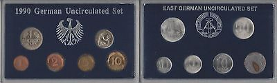 1990 German Uncirculated 6 Coin Set & East Germany Unc 6 Coin Set 1982-1990 #2