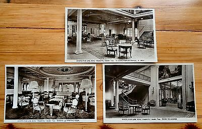White Star Line RMS MAJESTIC Main Entrance, Reading Room & Foyer (3) RP PPC