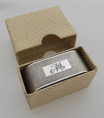 Pre-Owned Vintage Hallmarked Silver Napkin Ring With Engraved Initial 'm' & Box
