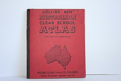 1950s Atlas Book with 'Special Supplements' in Good Condition Red Hardcover