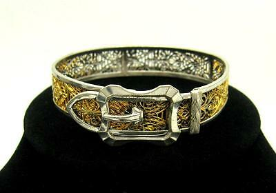 Lovely 1933 ART DECO E.L. WEED Silver and Gold Plated Filigree Buckle Bracelet