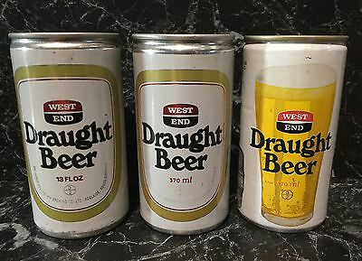West End Draught. 13FL.OZ.& 370ml. Collector Beer Cans x 3