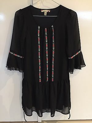 Black 3/4 Sleeve Girls Dress - Size 10