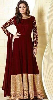 Ladies Shalwar Kameez georgette maroon embroidered semi stitched long anarkali