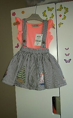 New Next Baby Girls Skirt With Braces and top 9 12 Months