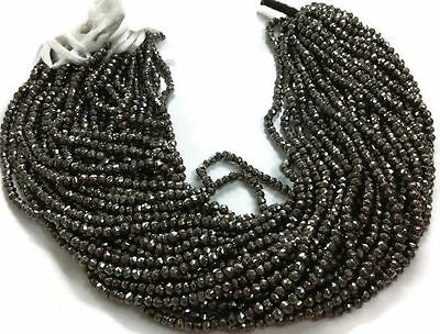 """5 Strand Black Pyrite Gemstone Faceted Rondelle Beads 3.5-4mm bead 13"""" Long"""