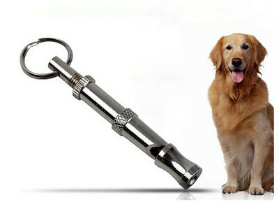 New Pet Dog Puppy Adjustable Ultrasonic Sound Brass Training Whistle Silver