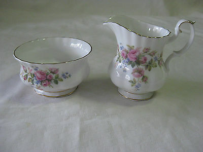 Royal Albert Moss Rose Sugar Bowl & Creamer