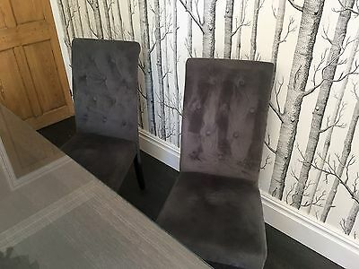 4 X Scroll Back genoa Dining Chairs In Grey Faux Suede / Black Legs