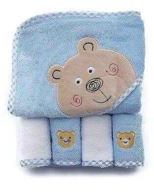 100% Cotton Baby Hooded Terry Bath Towel with 4 Washcloths by Ely's & Co.