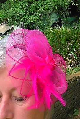 Fascinator Pink Headband Wedding Party Hat Facinator pink