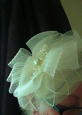 Fascinator Hat Headband Cream Ivory Wedding facinator .