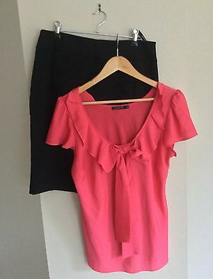 Portmans Black Detailed Skirt And Pink Ruffle Top Size 12