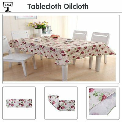 Wipe Clean Kitchen Tablecloth Oilcloth Vinyl PVC 137cm x 180cm Floral Red New