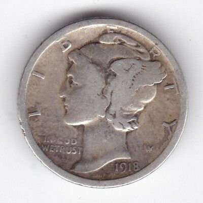 1918 U.S.A. Mercury Dime***Collectors***Silver***