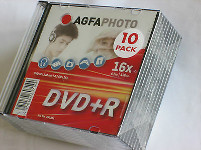 10 dvd + r vierge portefeuille rigide boitier 4,7go 120min 16x lot neuf France