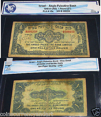 Low Serial number 250 ,Israel 1948 - 51 ANGELO PALESTINE BANK