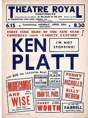 Portsmouth Theatre Royal poster early 1950s with Morecambe & Wise