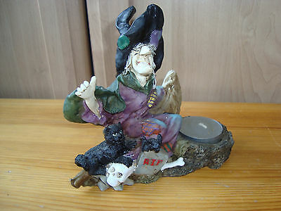 Witch with Black Cat - Fantasy Myth Figurine with Candle