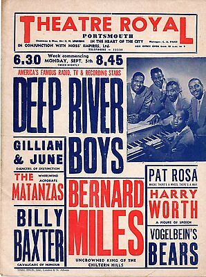 Portsmouth Theatre Royal poster early 1950s with Deep River Boys