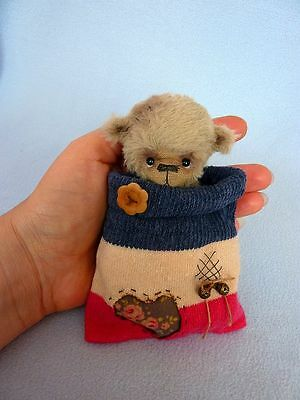 """Teddy in Old Sock"" - 11 cm  artist teddy bear (Happyteddy by Aleksandra J.)"