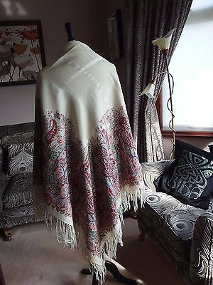 antique Paisley fringed shawl hand block print 1860s wool silk